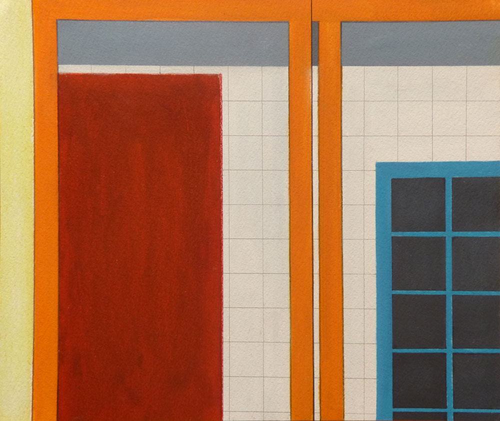 Orangenes Tor / Oranges Gate, 2015, 36 x 43 cm, Mischtechnik auf Papier / Mixed media on paper