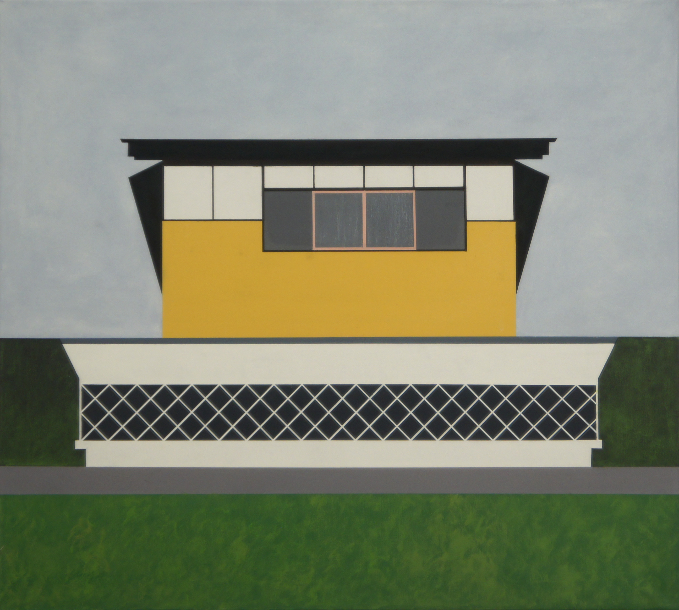 Haus am Hang, Tone/Japan, 2010, 90 x 100 cm,  Ölfarbe auf Leinwand House on a slope, Tone / Japan, 2010, 90 x 100 cm, Oil on canvas