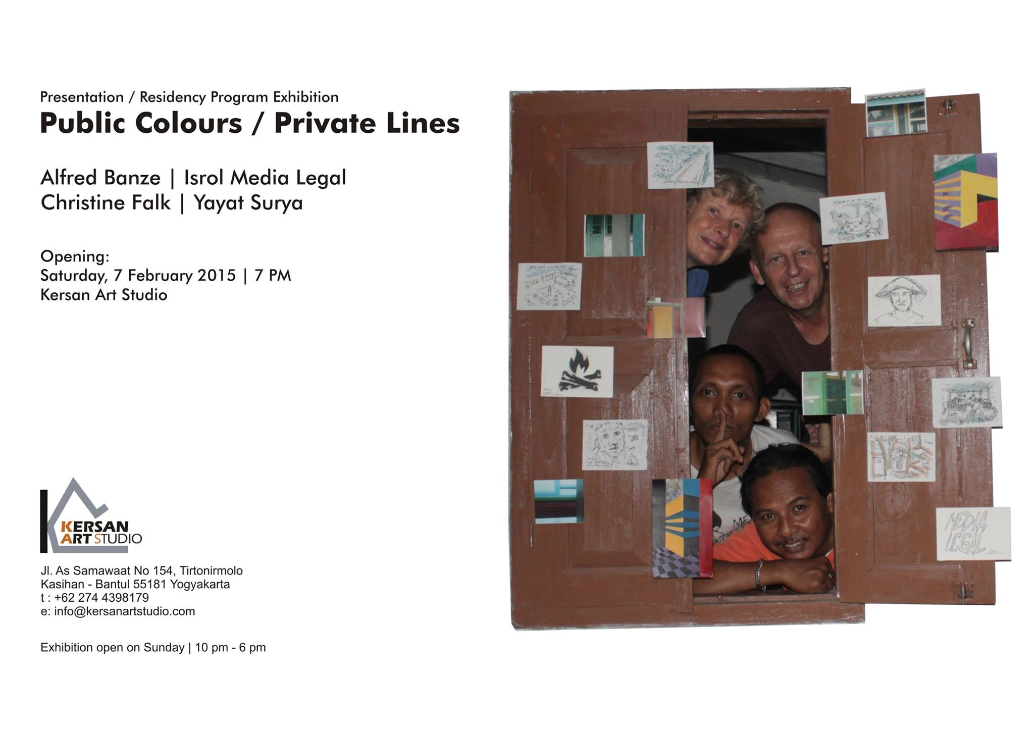 """Public Colors / Private Lines"" Exhibition + Workshop, Isrol Media Legal, Yayat Surya, Alfred Banze, Christine Falk, Kersan Art Studio, Yogyakarta, Indonesia, 2015"
